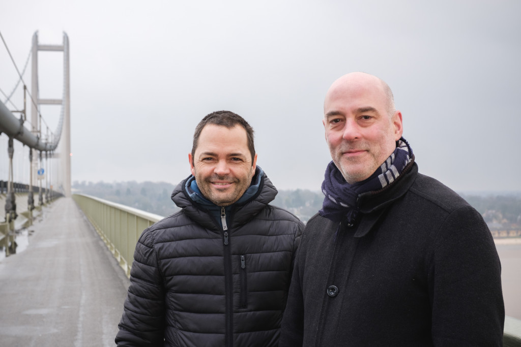 Arve Henriksen and Jan Bang on Humber Bridge. Photo - Tom Arber