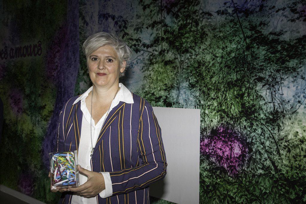 Caroline Bergvall receives Prix Bernard Heidsieck - Centre Pompidou. Photo: Centre Pompidou - Hervé Véronèse.
