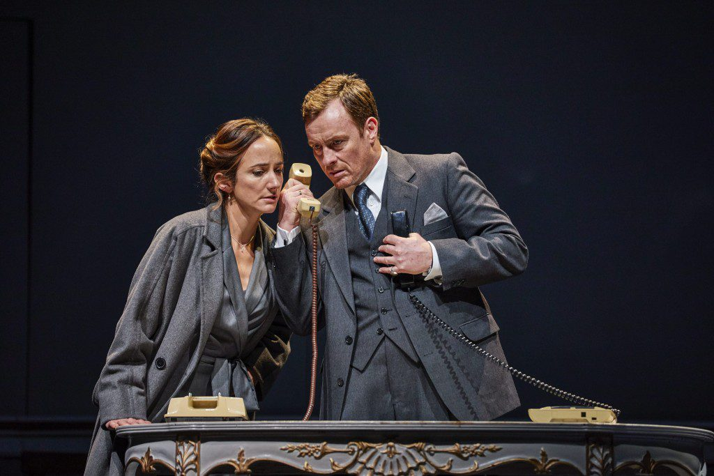 Lydia Leonard as Mona Juul and Toby Stephens as Terje Rød-Larsen in Oslo at National Theatre. Photo: Brinkhoff Mögenburg