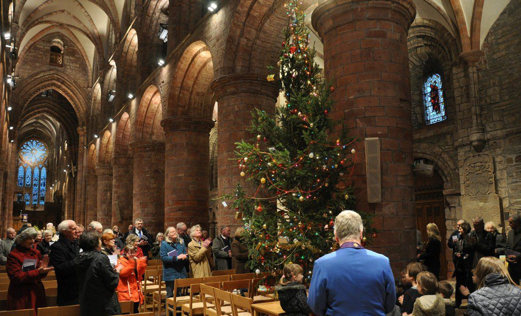 The Norwegian Christmas tree inside St Magnus Catherdral