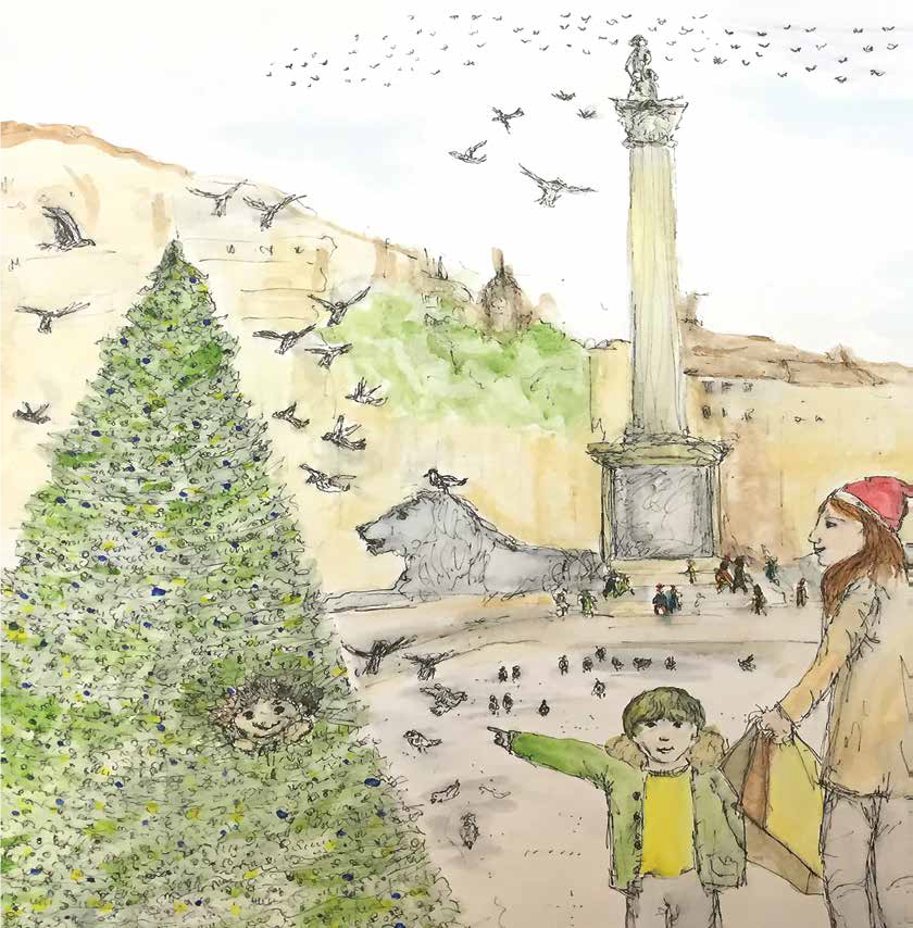 Illustration from The Troll of Trafalgar Square - Illustration by Jess Bragg