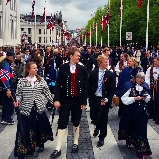 Bunad dressed people at Karl Johans gate on 17 May. Photo: private